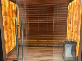 Residential sauna constructed with aspen wood